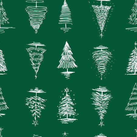 Seamless pattern of sketches various christmas trees  イラスト・ベクター素材