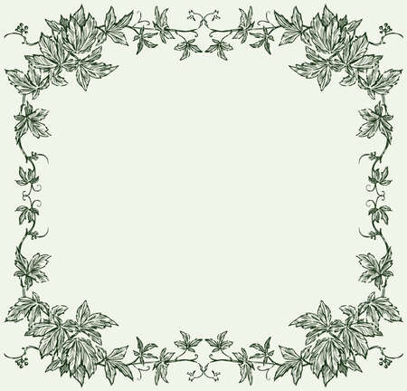 Vector image of decorative floral frame from grape vine sketches  イラスト・ベクター素材