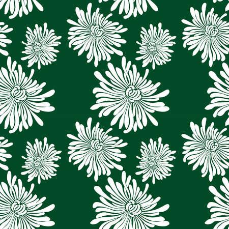 Seamless background of decorative white chrysanthemums Иллюстрация