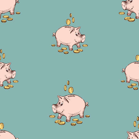 Seamless pattern of sketches funny piggy banks with coins