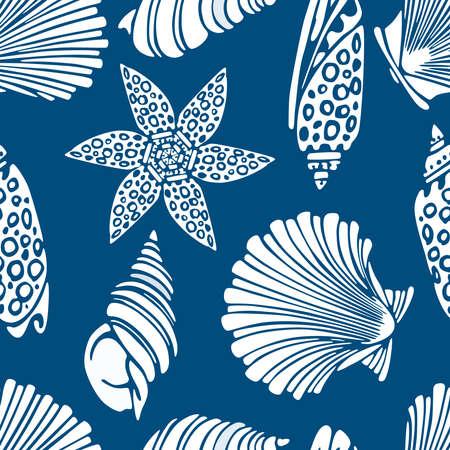 Seamless pattern of silhouettes various decorative seashells