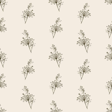 Seamless pattern of sketches umbrella flowers