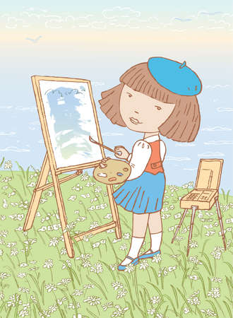 Vector illustration of little girl painting in open air on seacoast