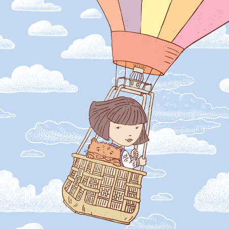 Vector illustration of little girl with her cat flying on balloon in blue cloudy sky
