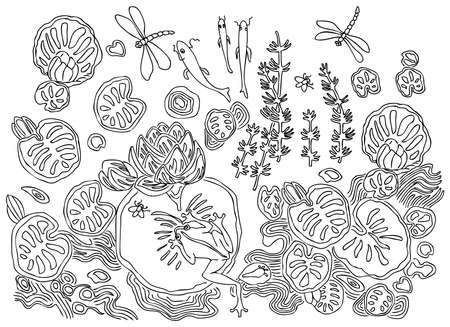 Outline drawing of ornamental plants and animals living in a forest lake Illustration