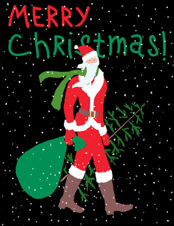 Christmas greeting card of Santa Claus walking with fir tree and gifts bag  イラスト・ベクター素材
