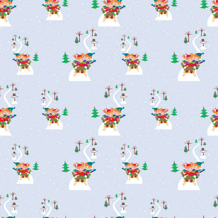 Seamless pattern of cheerful children riding on sledge from ice hill in December