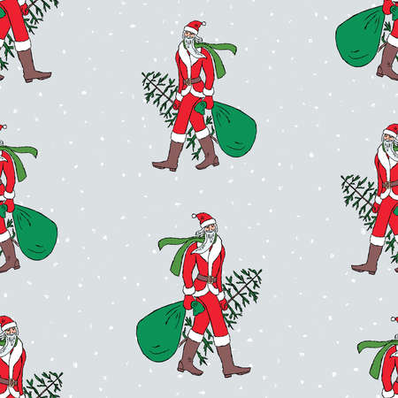 Seamless pattern of Santa Claus walking with christmas tree and gifts bag
