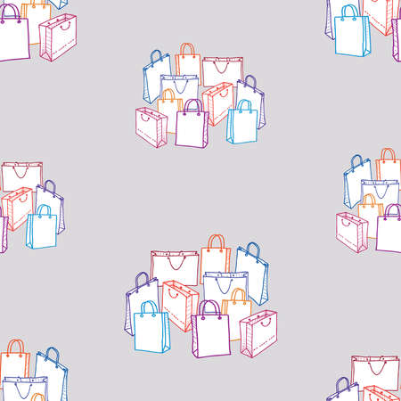 Seamless background of various drawn shopping bags  イラスト・ベクター素材