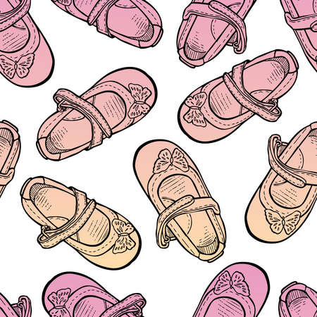Seamless background of drawn shoes for little girls  イラスト・ベクター素材