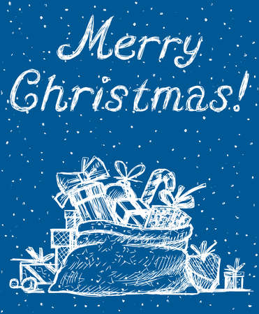 Greeting christmas card with sketches of gifts in big bag  イラスト・ベクター素材