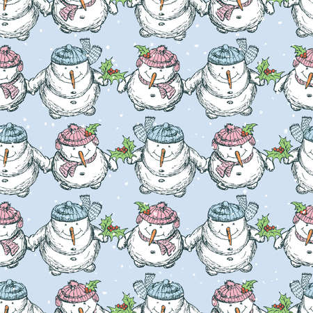 Seamless pattern of cheerful drawn snowmen standing in rows and looking at snowfall