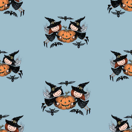 Seamless pattern of cheerful flying elves with pumpkin in Halloween