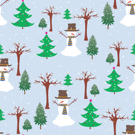 Seamless background of cheerful snowmen in winter forest on snowy day  イラスト・ベクター素材