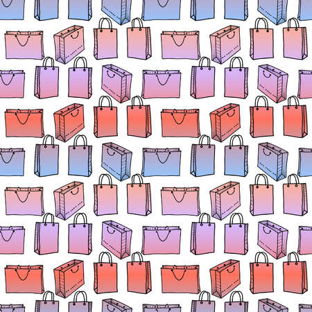 Seamless pattern of colorful shopping bags  イラスト・ベクター素材