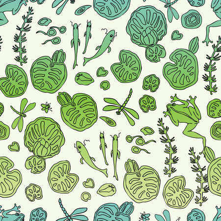 Seamless pattern of plants and animals in forest lake