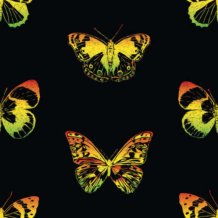 Seamless background of colorful drawn butterflies
