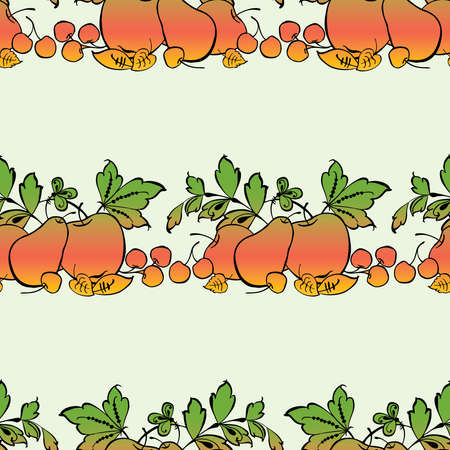Seamless background of decorative ripe fruits and leaves in rows