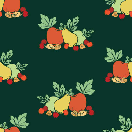 Seamless background of colorful silhouettes of ripe fruits and leaves  イラスト・ベクター素材