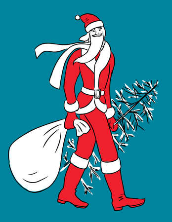 illustration of Santa Claus with gifts bag and christmas tree