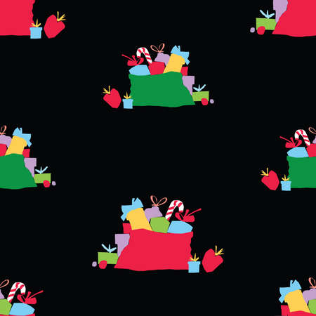 Seamless pattern of colorful bags with christmas gifts