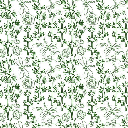 Seamless background of outlines water plants and insects
