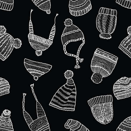Seamless background of various knitted hats for cold weather  イラスト・ベクター素材