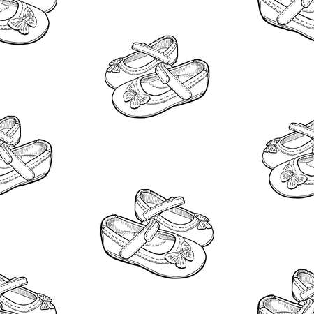 seamless background of outlines shoes for little girls
