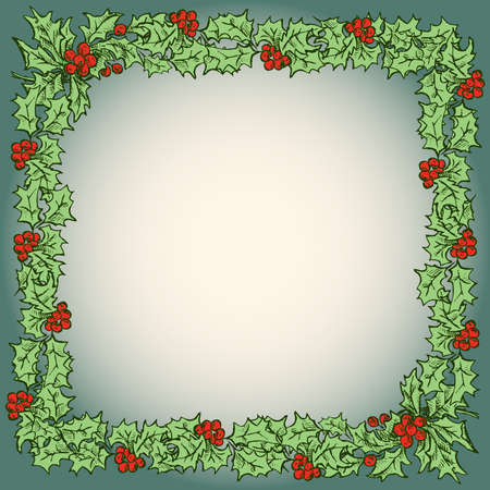 christmas card with drawn floral frame from holly branches with red berries