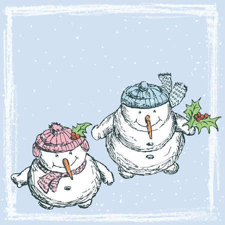 illustration with funny snowmen looking at snowfall in Christmas