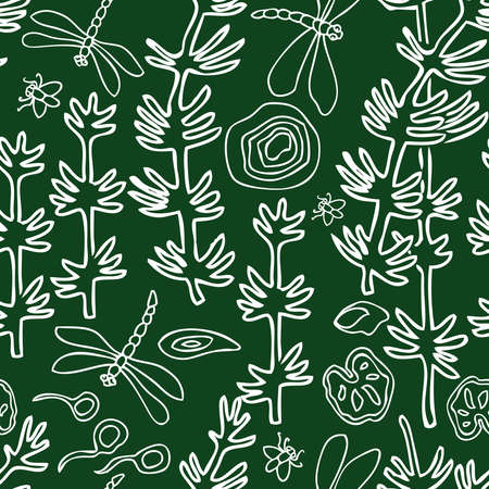seamless pattern of outlines water plants and insects  イラスト・ベクター素材