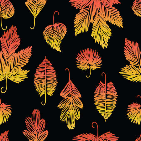 Seamless pattern of various drawn autumn leaves