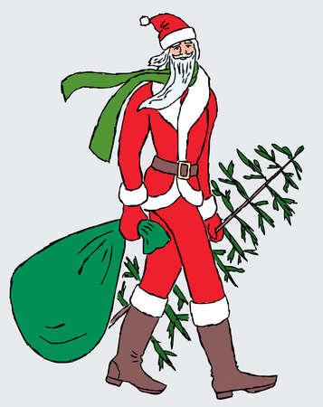 Vector image of Santa Claus walking with christmas tree and gifts bag