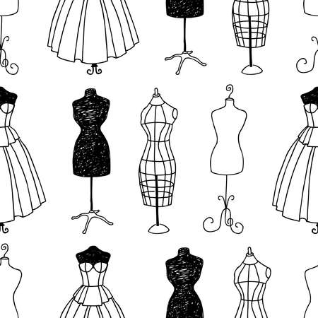 Seamless pattern of outlines various sewing mannequins