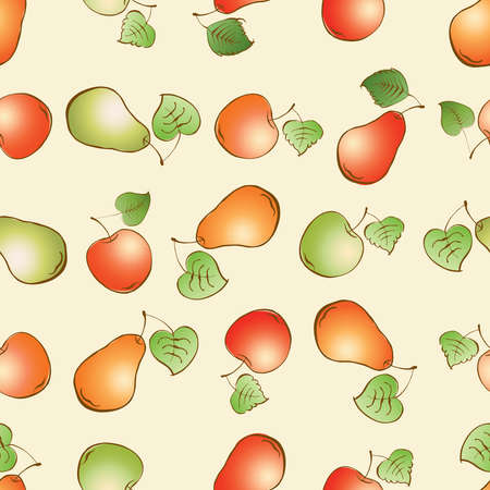 Seamless pattern of drawn ripe apples and pears  イラスト・ベクター素材