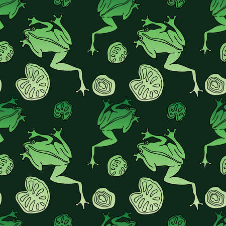 Seamless pattern of drawn green frogs and leaves