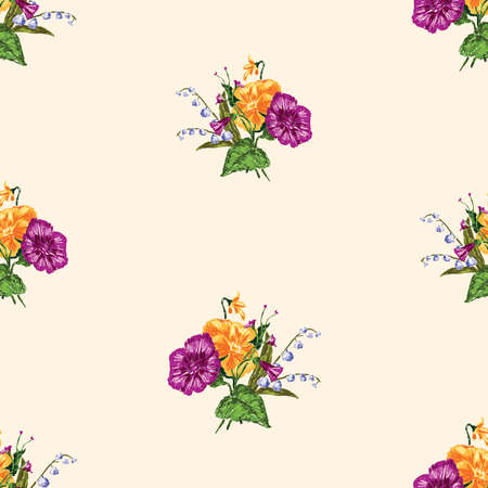 Seamless pattern of sketches small bouquets of flowers