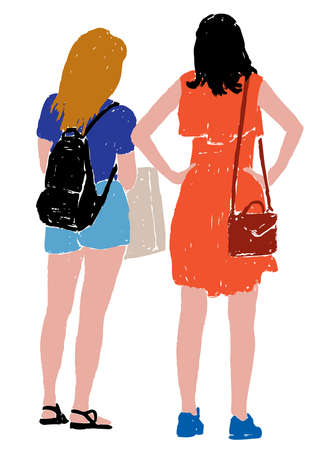 Vector illustration of two city girls outdoors on summer day 矢量图像