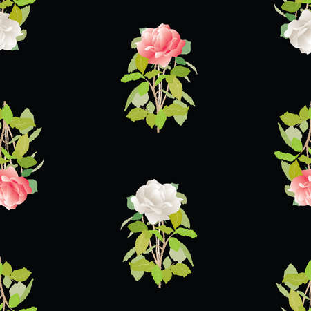 Seamless background of delicate red and white garden roses