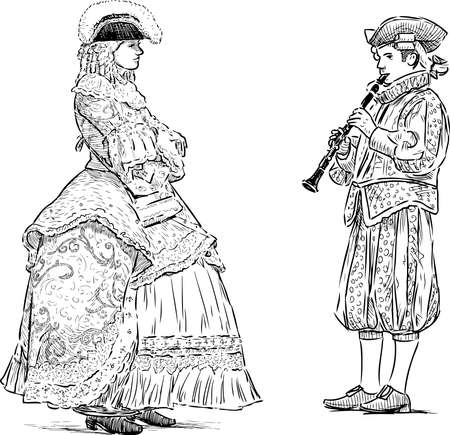 Freehand drawings of musician playing flute for lady in historical costumes of 18 century