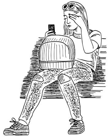 Sketch of young fashionable girl sitting on park bench with smartphone