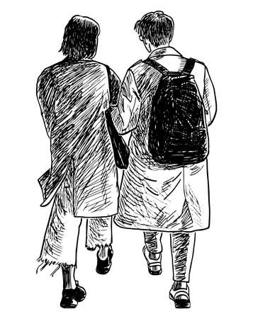 Sketch of couple young citizens walking together outdoors