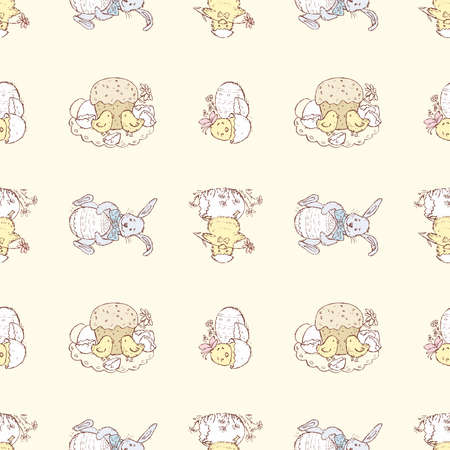 Seamless pattern of set various Easter pictures with chickens and rabbits