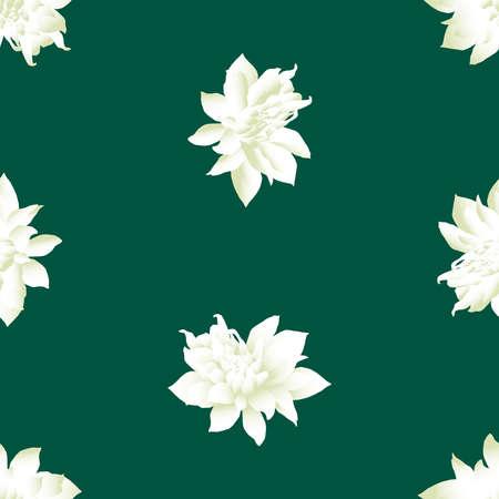 Seamless pattern of white lotus flowers Illusztráció