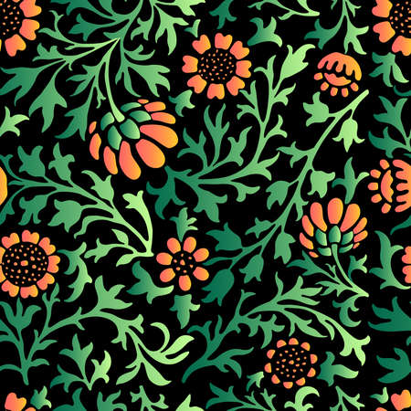 Seamless pattern of decorative floral twigs with red daisies