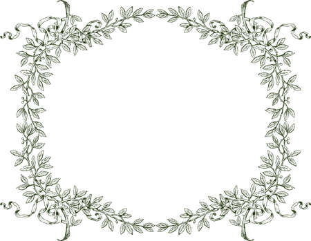 Floral border from sketches laurel branches with ribbons
