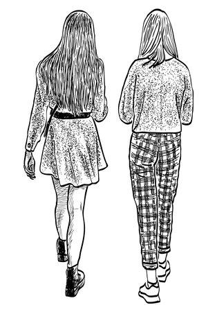 Sketch of friends teen girls walking outdoors on summer day
