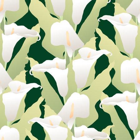 Seamless pattern of bouquets delicate white calla lilies Illusztráció