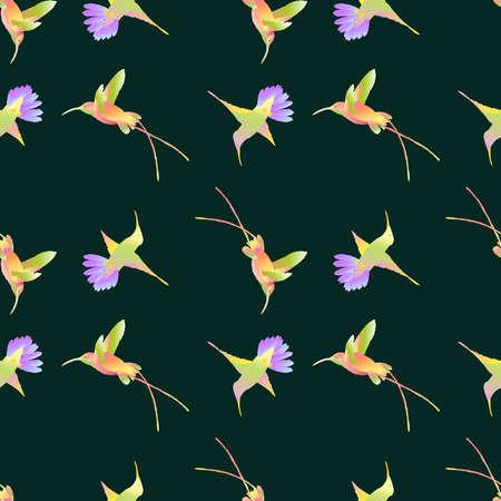 Seamless pattern of colorful flying hummingbirds Illusztráció