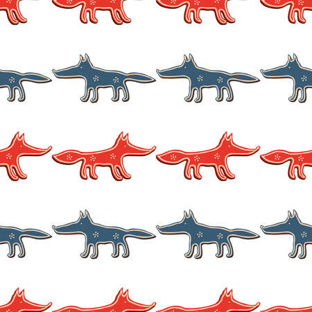 Seamless pattern of cartoon funny wolves and foxes in rows